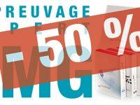 50 % de remise = moitié prix = deux fois moins cher C'est le tarif GMG*, mais seulement jusqu'au 31/03/18.
